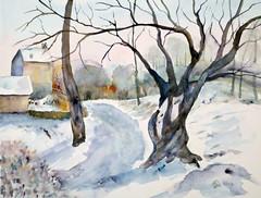 398 Weg im tiefen Schnee (Wuwus Bilder) Tags: malerei aquarell camillepissarro watercolour ownpainting art landschaft