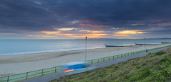 End Of Day (nicklucas2) Tags: sunset seascape beach sea sand groyne cloud wave streetlight purbeckhills cartrails seaside