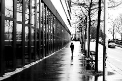 After the rain (pascalcolin1) Tags: paris13 femme woman pluie rue reflets reflection vitres fenetres windows arbres trees photoderue streetview urbanarte noiretblanc blackandwhite photopascalcolin