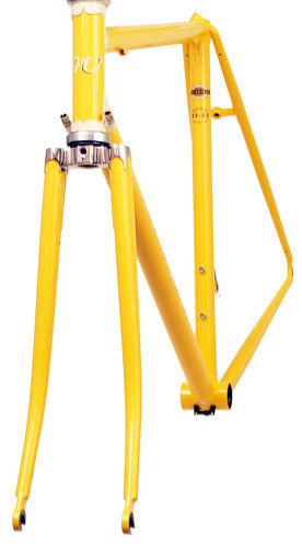 <p>Front view of Waterford 22-Series Road Sport featuring Sachs' Richissimo Lugs in Canary with painted lugs.  These lugs included built-in cable guides.</p>