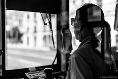 Through the window (MaxDeVa) Tags: leica people bw me 50mm lisbon voigtlander streetphotography f11 nokton lisbona peopleonthetram