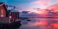 Grundsund harbour at sunset (mpakarlsson) Tags: ocean longexposure sunset sea sky sun sunlight house reflection water mirror bay sweden harbour outdoor nd bohusln grundsund ndfilter nd16