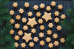 Stars shaped cookies (Arx0nt.) Tags: cookie christmas holiday gingerbread pattern star shape tasty bake newyear firtree cooling rack topview overhead horizontal arrangement flatlay toned green blue dark shadow natural sugar fat unhealthy beautiful brown delicious crunchy festive decor creative layout