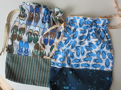 Two drawstring shoe bags (ompompali Claudia) Tags: drawstrings bags tote patchwork
