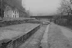 Harpers Ferry NHP ~ along the C&O Canal (karma (Karen)) Tags: harpersferry nhp usparks cocanal lockhouse33 paths trails canals bw monochrome bridges sliderssunday hss