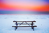 Time and Place (Andy Marfia) Tags: evanston illinois lakemichigan lakefront sunset bench table snow winter cold d7100 1685mm 1100sec f5 iso250