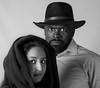 What do you see (femmaryann) Tags: man woman girl hat hijab scarf eyes black white blackandwhite monochrome direct gaze studio portrait pose