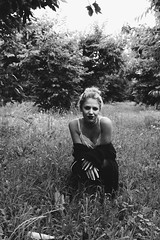 (Positively lifted.) Tags: blackandwhite slip dress cardigan model grass field trees grunge washington pnw photographer film grain
