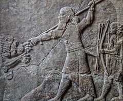Assyrian relief depicting a royal lion hunt Ashur (Assur) 8th-7th centuries BCE (mharrsch) Tags: relief sculpture assyrian ashur assur hunt lion king ruler spear bearded servant 8thcenturybce 7thcenturybce ancient pergamonmuseum berlin germany mharrsch