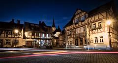 Town Centre (Percy M) Tags: oberursel germany taunus fachwerk hirsch marktweib marktplatz market place marketplace road church night lighttrails