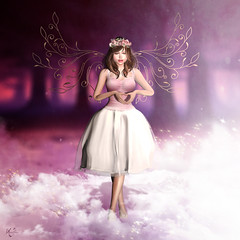 Fairy of love (meriluu17) Tags: ~se~ fairy fae fantasy love purple violet pink light lights heaven sharelove valentine wire wings wing puffydress cute outdoor people portrait heart bento flower flowers crown forest cloud mist