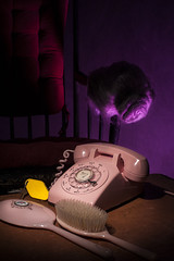 Mad (Kristina Noir) Tags: noir phone batesmotel brush final hitchcock hotel key pink pinkphone props psycho rockingchair strobe studio tables