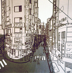 Shibuya (George Pollard) Tags: shibuya tokyo japan drawing painting illustration bw cityscape street crossing umbrella interestingness cleanline grey lineart