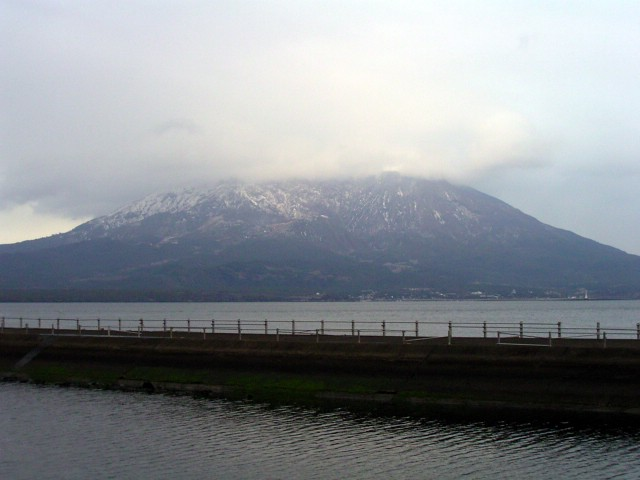 Mt.Sakurajima covered with snow