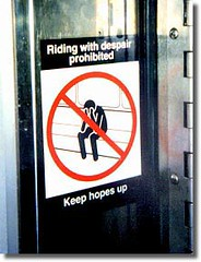 Riding With Despair Prohibited (LarimdaME) Tags: nyc warning subway hope prohibited stickfigureinperil ridingwithdespairprohibited keephopesup