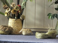 Finished woven baskets and flowers - Emma Kesha (Seashelle) Tags: pacific newzealand samoa artist emmakesha weaver weaving flax kite flowers pacificunderground basket