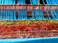 Warp and weft, turquoise (Lil [Kristen Elsby]) Tags: blue color topf25 thread indonesia asia southeastasia topv1111 traditional craft warp textile getty textiles weaving lombok loom gettyimages threads songket weft gettyimagesonflickr