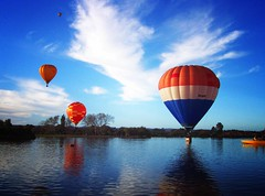 Balloon  Lomo Effect (Brenda Anderson) Tags: blue newzealand sky orange lake water topv111 clouds catchycolors hotair balloon gimp hotairballoon lomoeffect masterton wairarapa curiouskiwi henleylake intop40set imagekind brendaanderson inagroup utata:project=upfaves ourspacenz curiouskiwi:posted=2005