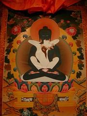 Tibetan Thangkha - The Union of Compassion & Wisdom (hurleygurley) Tags: red orange black mystery gold buddha marin compassion tibetan tall publicart wisdom rgb hg inverness metta consort notmyart rgbii elisabethfeldman
