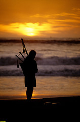 BagPiperSunset (mcshots) Tags: ocean california sunset music usa sun beach water evening coast losangeles bagpipes mcshots bagpiper