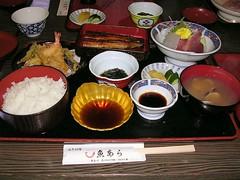 Uoara set meal (Freeman at Leisure) Tags: uoara set meal tempura sashimi unagi asari clam nori