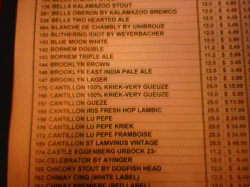 Beer List at Eulogy Belgian Tavern
