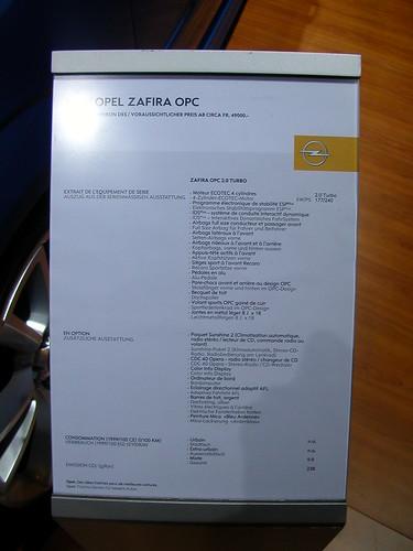 Opel Zafira OPC specs. 2005