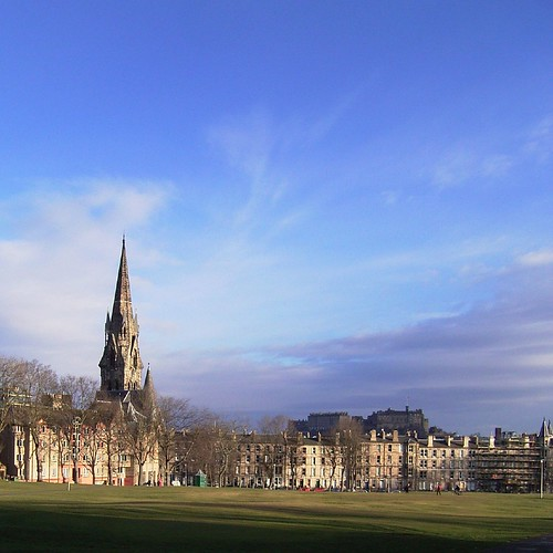 View from Bruntsfield Links towards Barclay Church with Edinburgh Castle in the background.