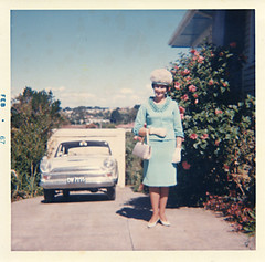 Mum at 27 (Lil [Kristen Elsby]) Tags: family newzealand cortina topf25 hat topv2222 vintage pose garden square vintagecar mother auckland mum faded gloves nz 1967 oldphoto vernacular handbag australasia titirangi oceania welldressed fordcortina