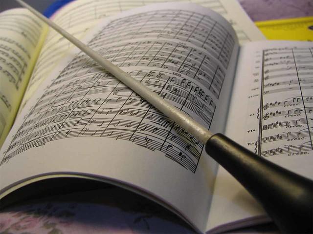 musical score & baton