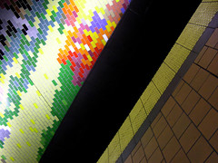 sedimentary rocking (helveticaneue) Tags: firstfriday april 2005 night drunk catchycolors marketeaststation mindthegap colorful tiles waitingforthetrain verydrunk gladyoudidntwalk soggyanyway