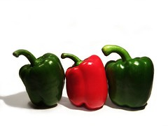 Peppers (Chris_J) Tags: pepper vegetables onwhite green red gimp food redgreen thegimp topv111 art kodak dx6340 kodakdx6340 pointshoot pointandshoot kodakpointandshoot kodakpointshoot amateur studio studioshot