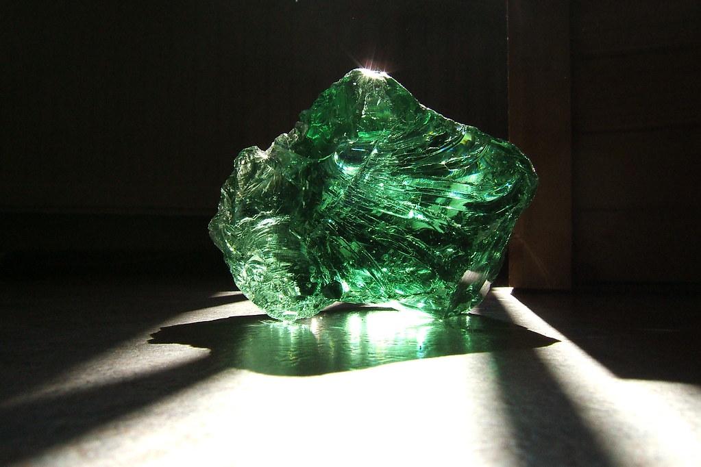 big chunk o' green glass