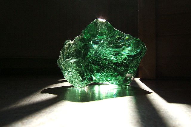big chunk o' green glass