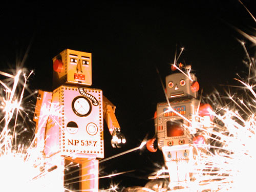 all your base are belong to us -- robot toy toys black robots night sparklers group love andrea toyrobots toyrobot