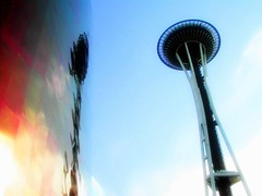 Past Future meets Present Future (aqui-ali) Tags: seattle sky usa tower topf25 architecture washington saveme4 deleteme10 fv5 utata wa spaceneedle emp frankgehry ppv pph gehryx aquiali:a=1
