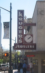 2005Mar-AustinTypeTour-114 - Kruger's Jewelers (mrflip) Tags: 2005 street art sign austin painting graffiti march mural texas tour signage type austintx typographical typographic krugers 2005mar jewelers typetourofaustin