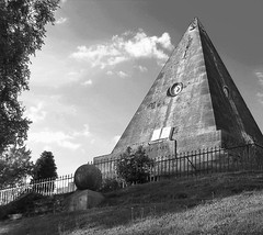 Pyramid (jonhughes) Tags: pyramid stirling graveyard bw scotland