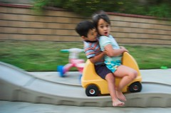 Warning: Bridge Is Out (fd) Tags: family motion topv111 blurry candid daughter son siblings rollercoaster panning