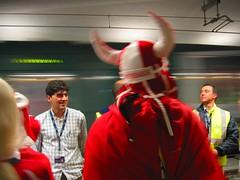 Viking on his way to the stadium