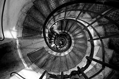 Spiral stairs with ghost (Mr. Physics) Tags: city trip travel vacation blackandwhite bw paris france stairs spiral nikon europe honeymoon d2x nikondigital parisfrance cityoflights msoller cathypic