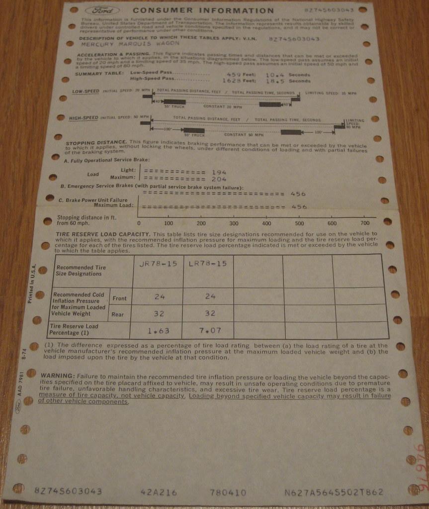 1978 Mercury Marqui Wagon Consumer Information