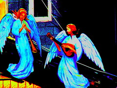 There Must Be An Angel (Lady Vervaine) Tags: street city blue urban 15fav music toronto ontario canada colour church electric angel saturated highcontrast vivid angels hallucination colourful heavenly bold eurythmics hallucinatory