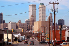 Downtown Tulsa (Austin Tolin) Tags: street city cars oklahoma buildings trafficlight downtown traffic intersection tulsa