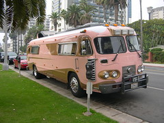 Pink bus, Santa Monica, California 2005 (Eleventh Earl of Mar) Tags: 2005 california pink bus santamonica