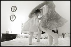 dancing on great grandmother's bed (toyfoto) Tags: blackandwhite playing toddler dancing cousin babyofmine inspiredbyserena bedbouncing greatgrandpas99thbday