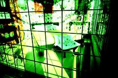 Psychadelic bedroom (neilbruder) Tags: canada green film vancouver crossprocessed fuji toycamera wideangle slidefilm windowdisplay expired vivitar plasticcamera trashcam 22mm ultrawideslim commercialdr provia100 vivitarultrawideslim vivitarultrawideandslim