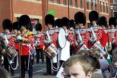 The Band on parade... (welshlady) Tags: uk red southwales drums uniform band valeofglamorgan medals welshguards freedomofborough busbies bearskins