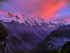 Evening in Mrren (serac) Tags: pink sunset cloud mountain schweiz switzerland glow suisse glacier bern lauterbrunnen ch alpenglow gimmelwald oberland breithorn mrren photomatix grosshorn 1xp mittaghorn spectacularswiss