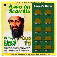 War on Terror Lottery Ticket (tgbusill) Tags: art philadelphia photoshop manipulated bush absurd pennsylvania politics satire politicalsatire humor manipulation osama lottery dada philly dhs lotteryticket waronterror absurdist